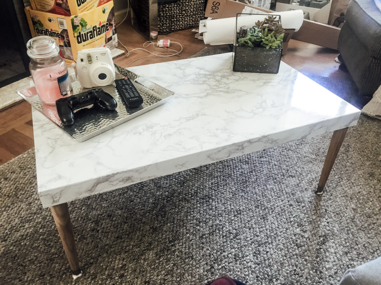 DIY Marble Top Coffee Table